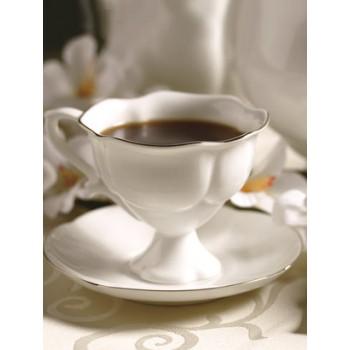 Чашка с блюдцем кофейная Наташа Золотая лента