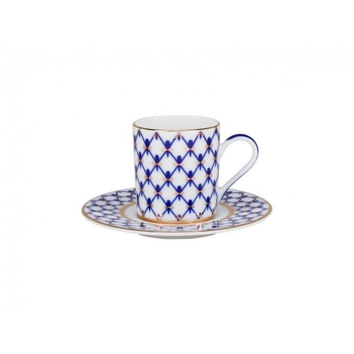 Чашка с блюдцем кофейная 100 мл форма Соло рисунок Кобальтовая сетка