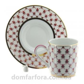 Чашка с блюдцем кофейная 100 мл форма Соло рисунок Сетка-блюз