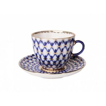 Чашка с блюдцем кофейная форма Тюльпан рисунок Кобальтовая сетка
