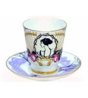 Чашка с блюдцем чайная форма Майская рисунок Посвящение Анне Андреевне