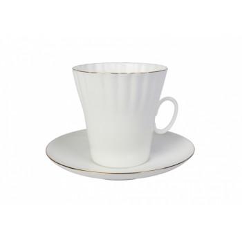 Чашка с блюдцем кофейная форма Одуванчик рисунок Золотой кантик