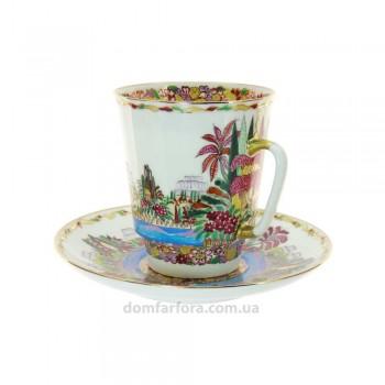Чашка с блюдцем форма Майская рисунок Голубое озеро