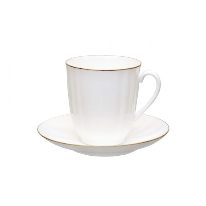 Чашка с блюдцем кофейная форма Ветерок рисунок Золотой кантик