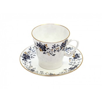 Чашка с блюдцем кофейная 80мл форма  Черный кофе рисунок Тонкие веточки