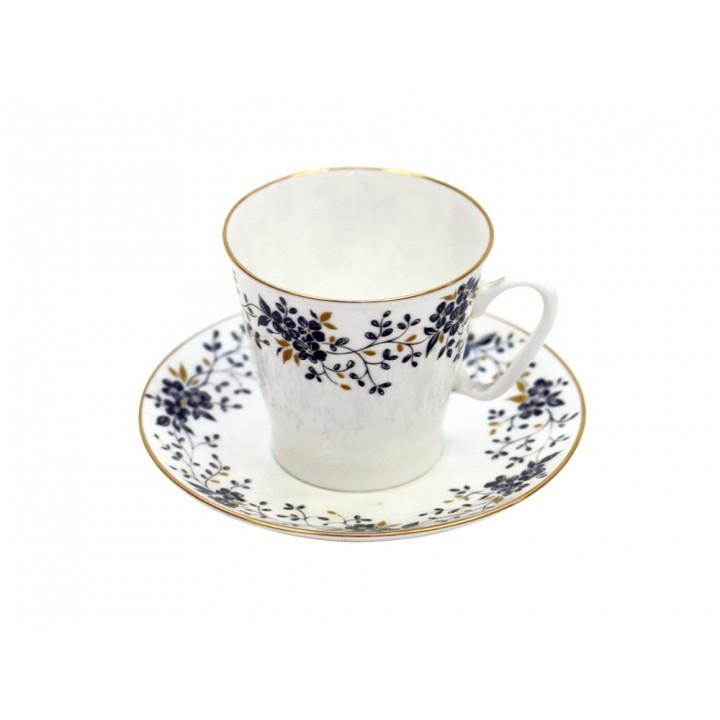 Чашка с блюдцем кофейная форма Черный кофе рисунок Тонкие веточки