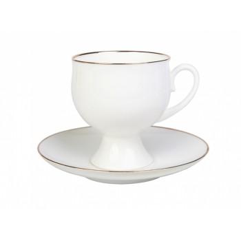 Чашка с блюдцем кофейная форма Классическая-2 рисунок Золотая лента
