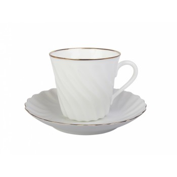 Чашка с блюдцем кофейная форма Витая рисунок Золотой кантик