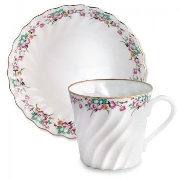 Чашка с блюдцем кофейная форма Витая рисунок Весенний с отводкой