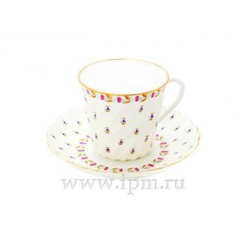 Чашка с блюдцем кофейная форма Витая рисунок Голубые ягодки с отводкой