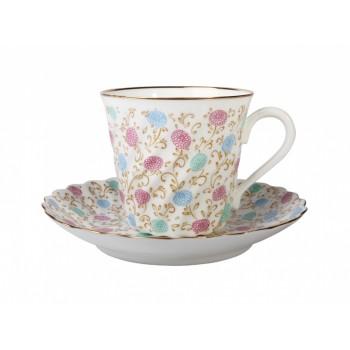 Чашка с блюдцем кофейная форма Витая рисунок Хризантема