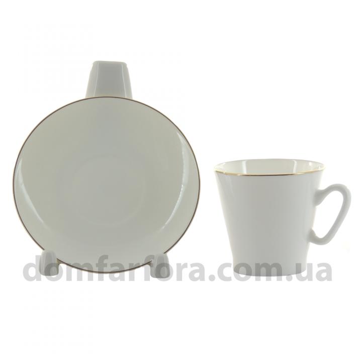 Чашка с блюдцем кофейная форма Черный кофе рисунок Золотой кантик