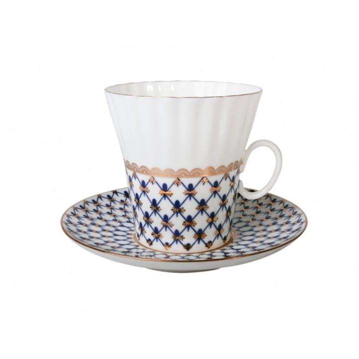 Чашка с блюдцем кофейная форма Одуванчик рисунок Кобальтовая сетка