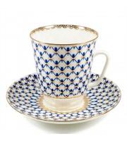 Чашка с блюдцем форма Майская рисунок Кобальтовая сетка