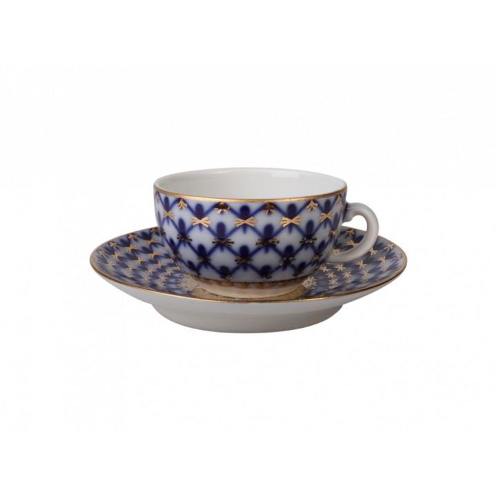 Чашка с блюдцем кофейная 40г. рисунок Кобальтовая сетка