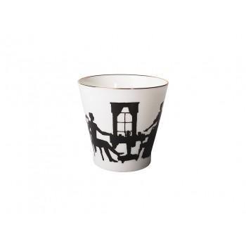 Чашка с блюдцем кофейная форма Черный кофе рисунок Вдвоем