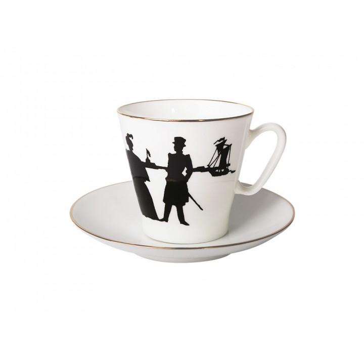 Чашка с блюдцем кофейная форма Черный кофе рисунок Прогулка