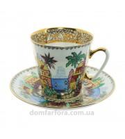 Чашка с блюдцем форма Черный кофе рисунок Голубое озеро