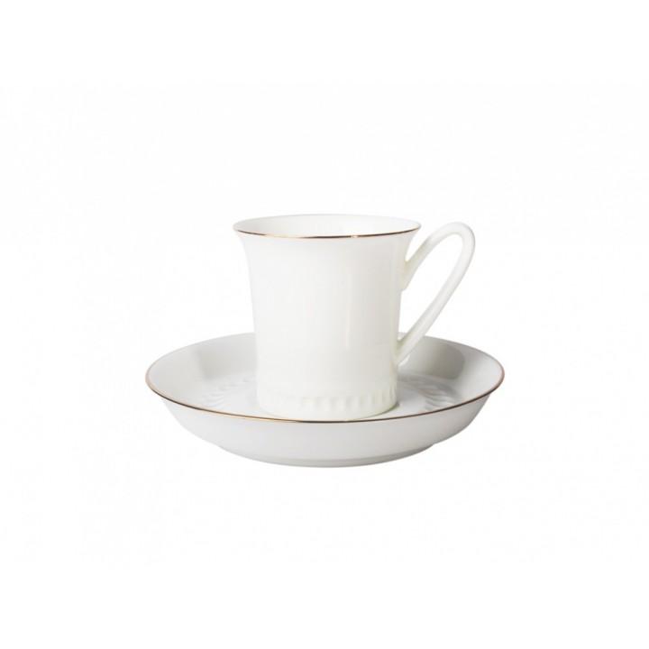 Чашка с блюдцем кофейная форма Вертикаль рисунок Золотая отводка