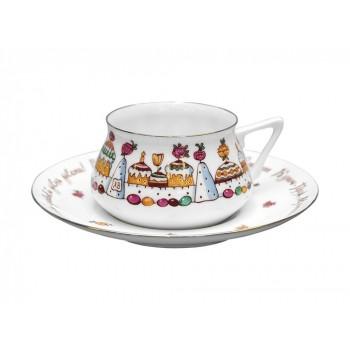 Чашка с блюдцем форма Билибина рисунок Кулич-город
