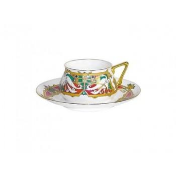 Чашка с блюдцем форма Билибина1 рисунок Сказочные птицы