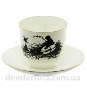 Чашка с блюдцем форма Ландыш рисунок Силуэты. Мальчик