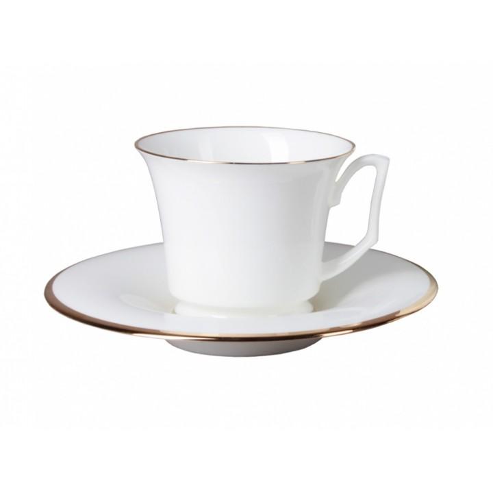 Чашка с блюдцем кофейная форма Юлия рисунок Золотая лента