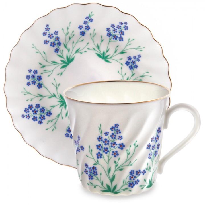 Чашка с блюдцем кофейная форма Витая рисунок У ручья