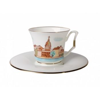 Чашка с блюдцем кофейная форма Юлия рисунок Петербург