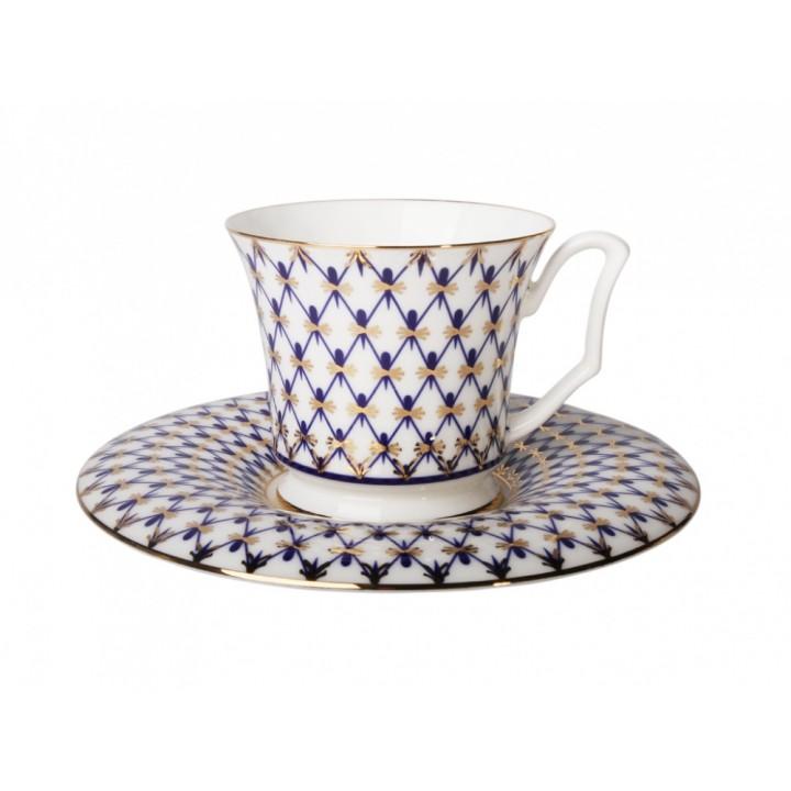 Чашка с блюдцем кофейная форма Юлия рисунок Кобальтовая сетка
