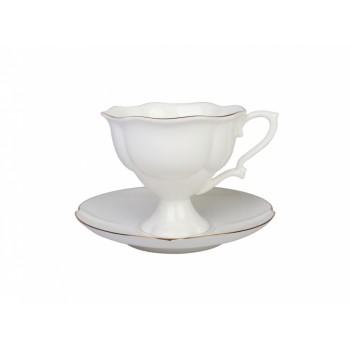 Чашка с блюдцем кофейная форма Наташа рисунок Золотая лента