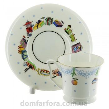 Чашка с блюдцем кофейная форма Юлия рисунок Елка - Эксклюзивный подарок