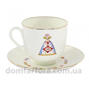 Чашка с блюдцем форма Ландыш рисунок Пасха и кулич