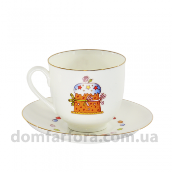Чашка с блюдцем форма Ландыш рисунок Кулич и Пасха