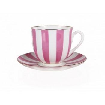Чашка с блюдцем форма Ландыш рисунок Да и Нет розовый