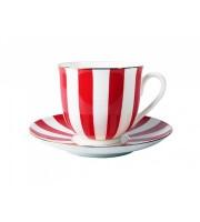 Чашка с блюдцем форма Ландыш рисунок Да и нет красный