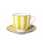 Чашка с блюдцем форма Ландыш рисунок Да и нет желтый
