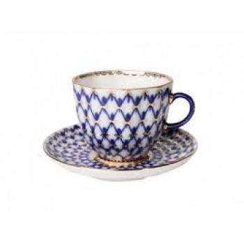 Чашка с блюдцем кофейная Тюльпан Кобальтовая сетка