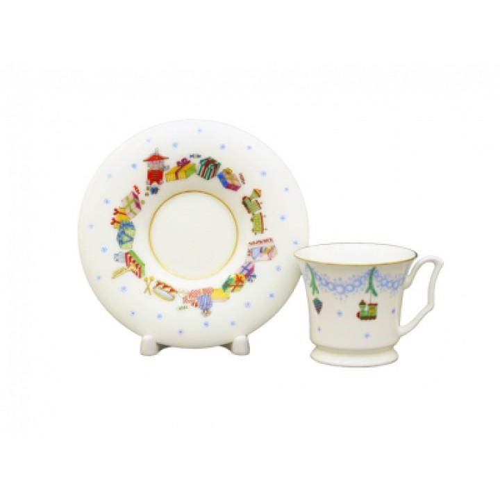 Чашка с блюдцем кофейная форма Юлия рисунок Елка