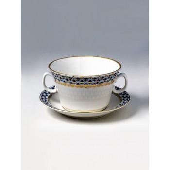 Чашка с блюдцем бульонная форма Молодежная рисунок Кобальтовая сетка