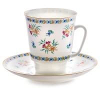 Чашка с блюдцем форма Майская рисунок Голубые колокольчики