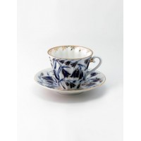 Чашка с блюдцем чайная форма Лучистая рисунок Колокольчики