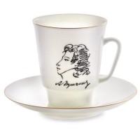 Чашка с блюдцем чайная форма Майская рисунок А.С.Пушкин