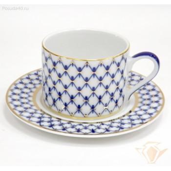 Чашка с блюдцем 300мл Соло Кобальтовая сетка