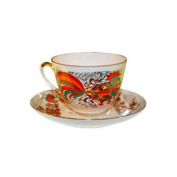 Чашка с блюдцем чайная форма Весенняя рисунок Красный петух