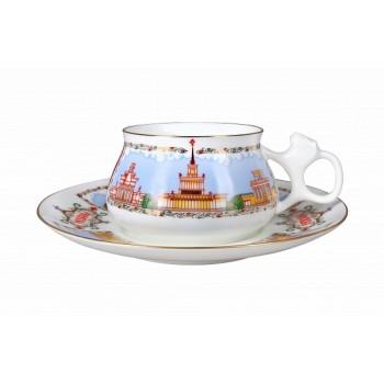 Чашка с блюдцем форма Билибина рисунок Павильоны ВДНХ