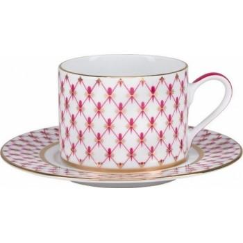 Чашка с блюдцем 300мл Соло Сетка Блюз