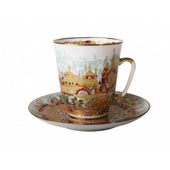 Чашка с блюдцем чайная форма Майская рисунок Весна золотая