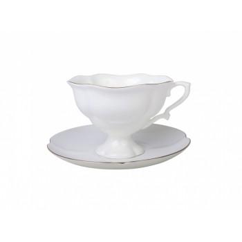 Чашка с блюдцем чайная форма Наташа рисунок Золотая лента