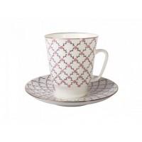 Чашка с блюдцем чайная форма Майская рисунок Розовая сетка